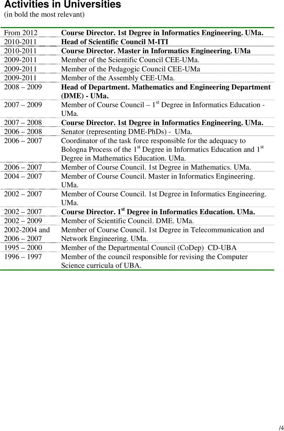 2008 2009 Head of Department. Mathematics and Engineering Department (DME) - UMa. 2007 2009 Member of Course Council 1 st Degree in Informatics Education - UMa. 2007 2008 Course Director.