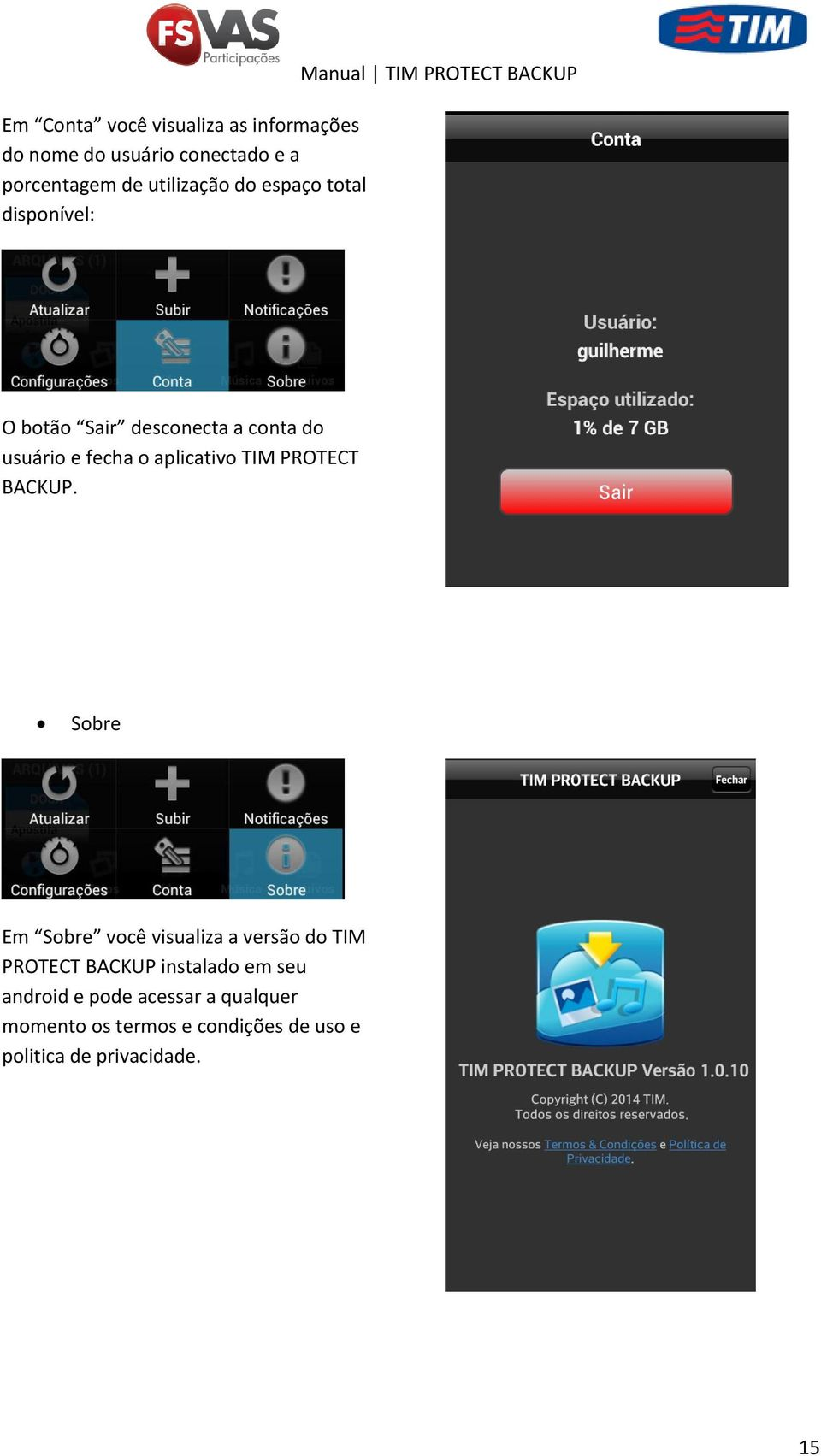 aplicativo TIM PROTECT BACKUP.