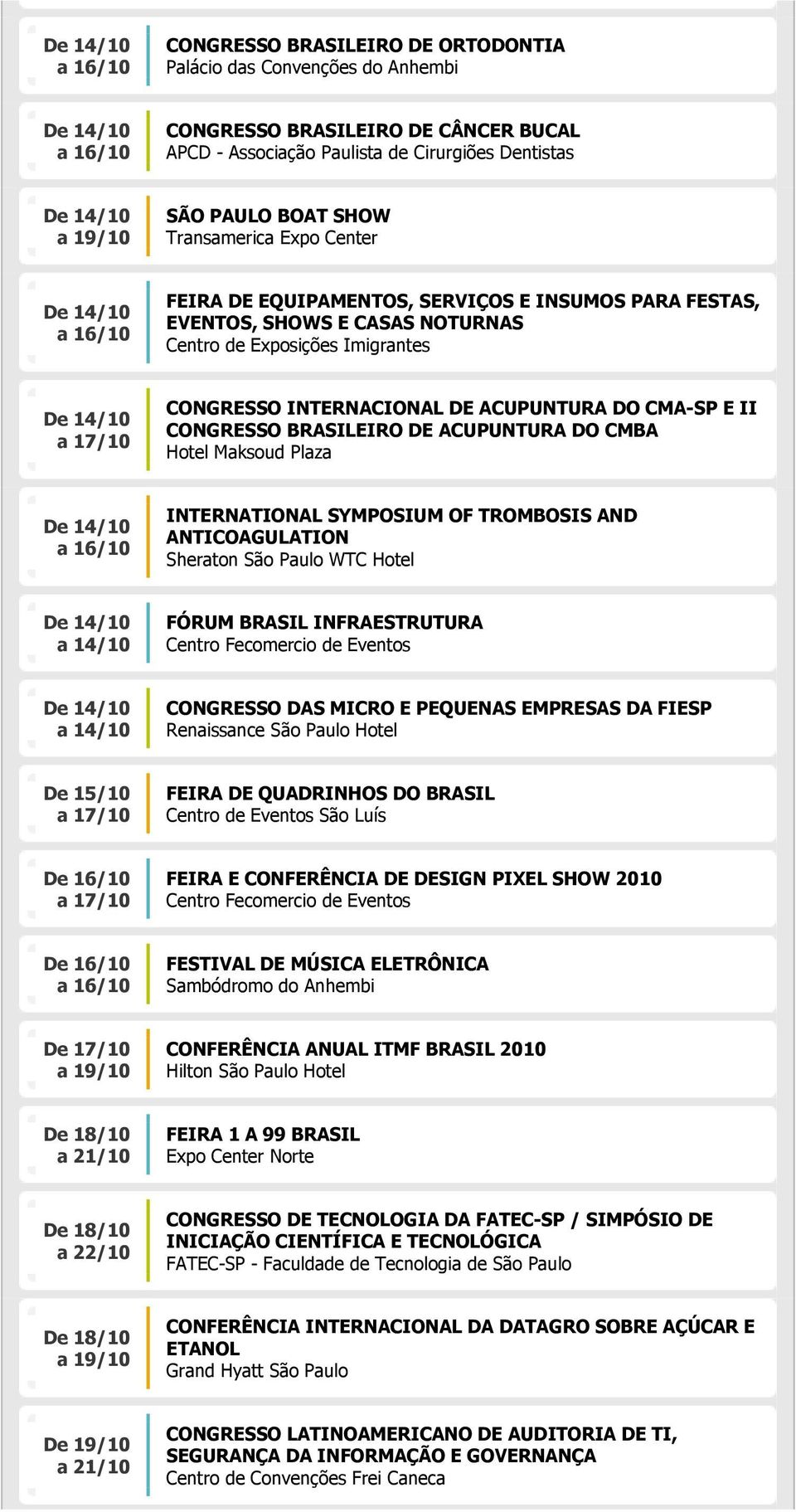 Hotel Maksoud Plaza INTERNATIONAL SYMPOSIUM OF TROMBOSIS AND ANTICOAGULATION Sheraton São Paulo WTC Hotel a 14/10 FÓRUM BRASIL INFRAESTRUTURA a 14/10 CONGRESSO DAS MICRO E PEQUENAS EMPRESAS DA FIESP