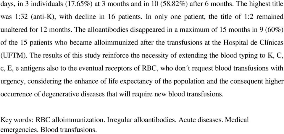 The alloantibodies disappeared in a maximum of 15 months in 9 (60%) of the 15 patients who became alloimmunized after the transfusions at the Hospital de Clínicas (UFTM).