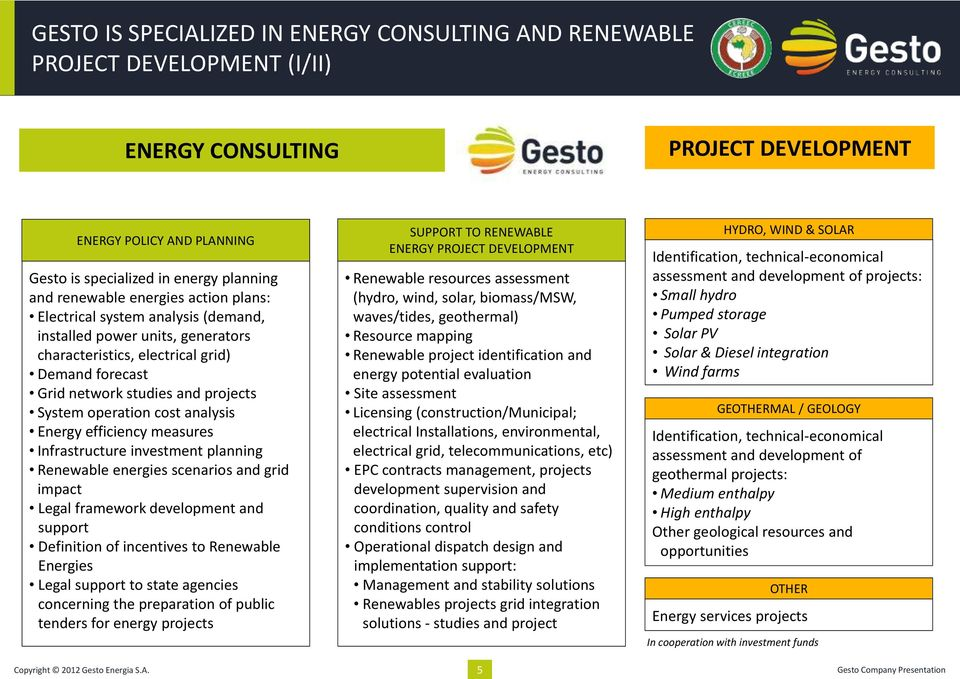 operation cost analysis Energy efficiency measures Infrastructure investment planning Renewable energies scenarios and grid impact Legal framework development and support Definition of incentives to