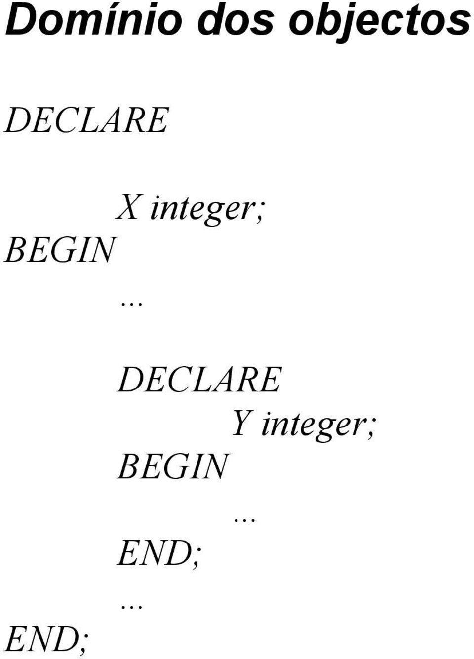 X integer; END;