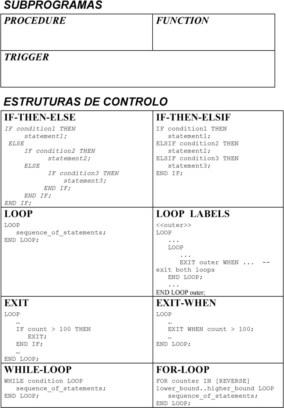 LOOP; IF-THEN-ELSIF IF condition1 THEN statement1; ELSIF condition2 THEN statement2; ELSIF condition3 THEN statement3; END IF; LOOP LABELS <<outer>> LOOP LOOP EXIT outer WHEN --