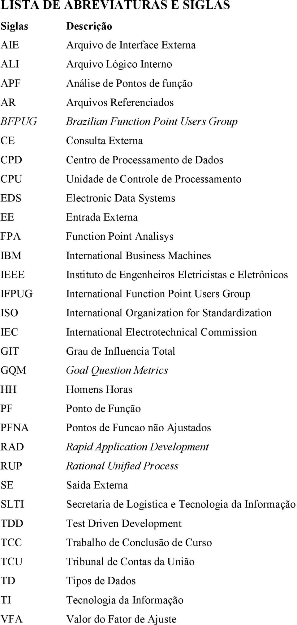 International Business Machines IEEE Instituto de Engenheiros Eletricistas e Eletrônicos IFPUG International Function Point Users Group ISO International Organization for Standardization IEC