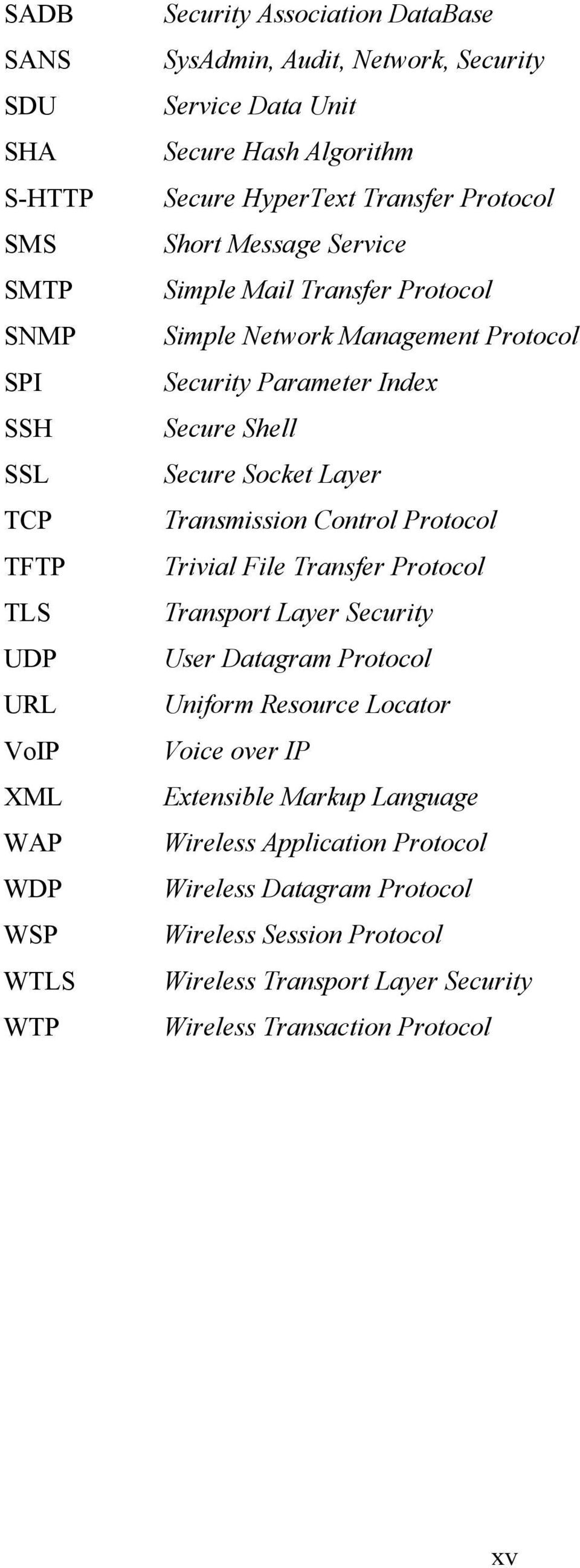 Index Secure Shell Secure Socket Layer Transmission Control Protocol Trivial File Transfer Protocol Transport Layer Security User Datagram Protocol Uniform Resource Locator