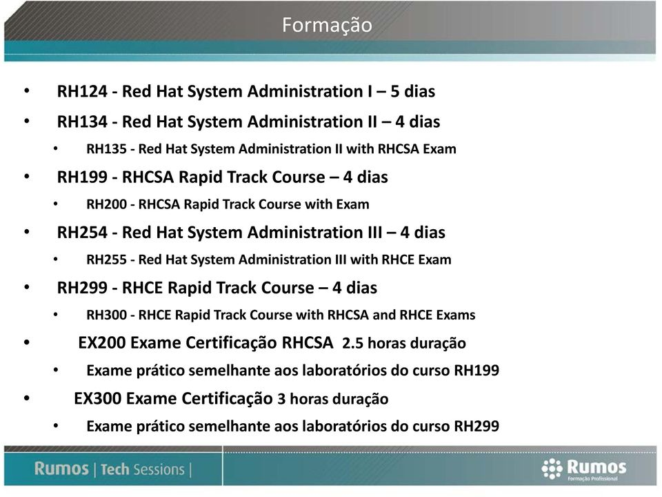 Administration III with RHCE Exam RH299 RHCE Rapid Track Course 4 dias RH300 RHCE Rapid Track Course with RHCSA and RHCE Exams EX200 Exame Certificação RHCSA 2.