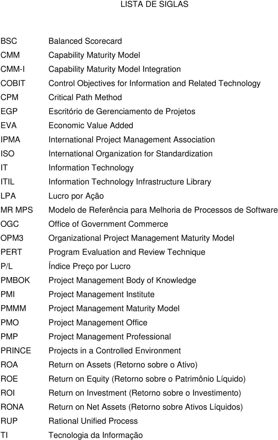 Management Association International Organization for Standardization Information Technology Information Technology Infrastructure Library Lucro por Ação Modelo de Referência para Melhoria de