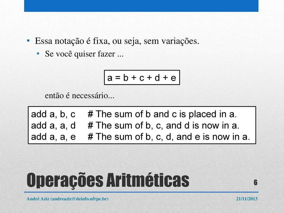 .. a = b + c + d + e add a, b, c # The sum of b and c is placed in a.