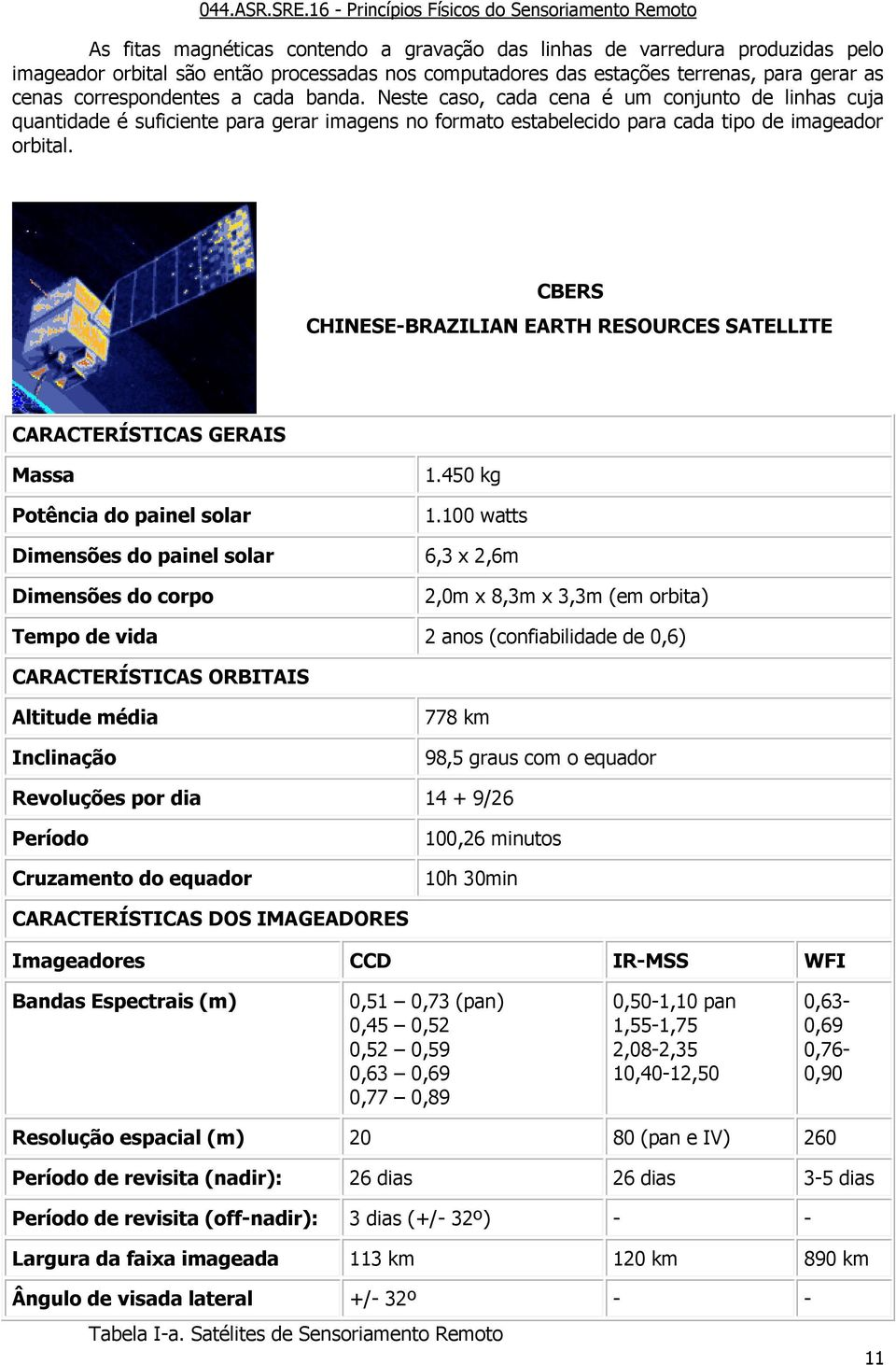 CBERS CHINESE-BRAZILIAN EARTH RESOURCES SATELLITE CARACTERÍSTICAS GERAIS Massa Potência do painel solar 1.450 kg 1.