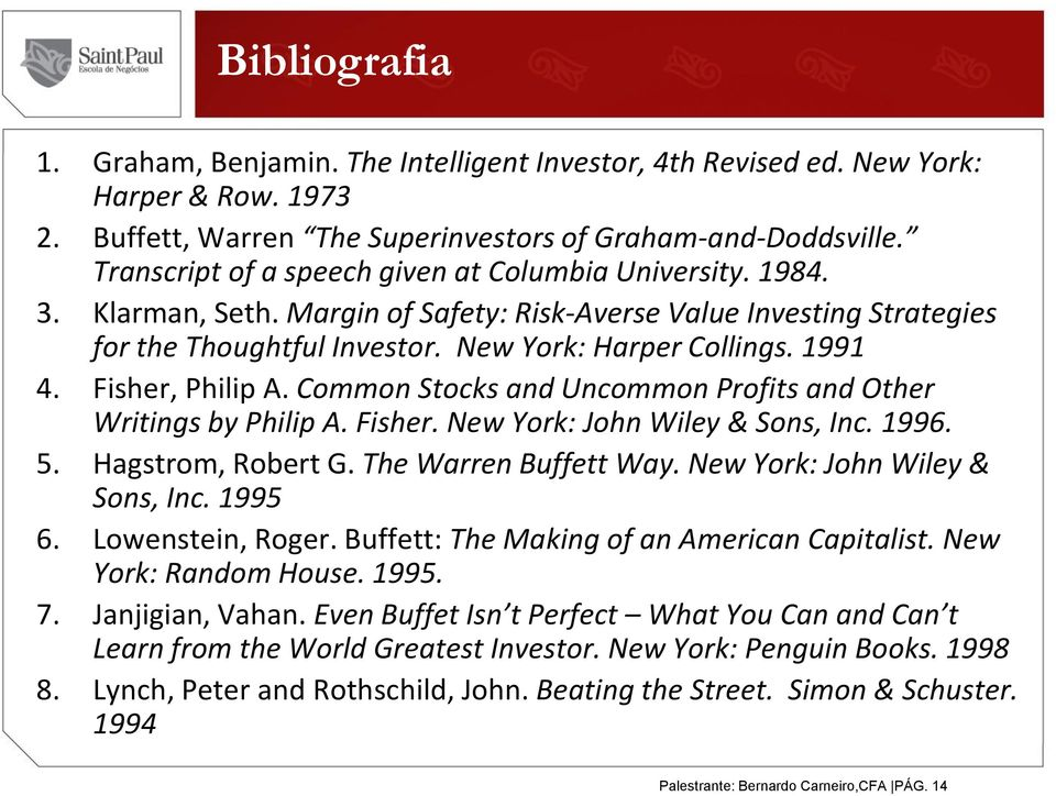 Fisher, Philip A. Common Stocks and Uncommon Profits and Other Writings by Philip A. Fisher. New York: John Wiley & Sons, Inc. 1996. 5. Hagstrom, Robert G. The Warren Buffett Way.