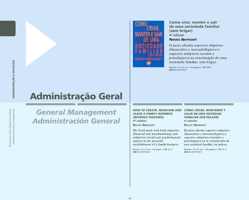Formato: 14 x 21 cm 144 páginas R$ 38,00 ISBN 85-85578-94-7 Business and Administration Administración y Negocios General Management Administración General HOW TO CREATE, MAINTAIN AND LEAVE A FAMILY