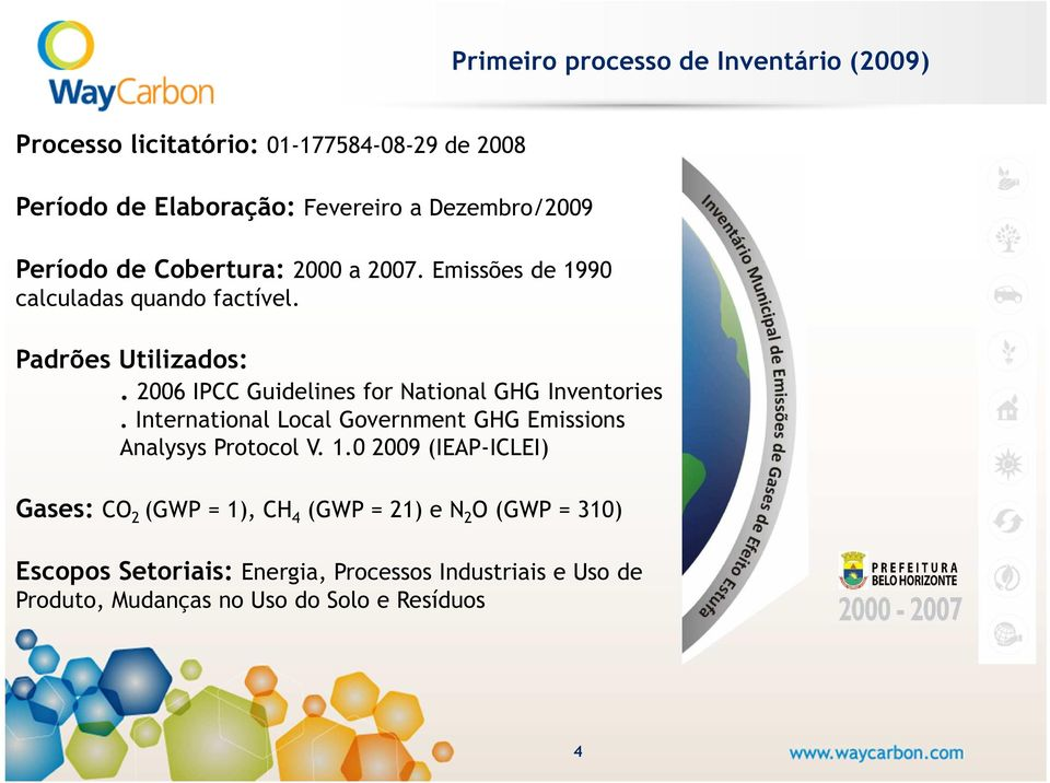 2006 IPCC Guidelines for National GHG Inventories. International Local Government GHG Emissions Analysys Protocol V. 1.