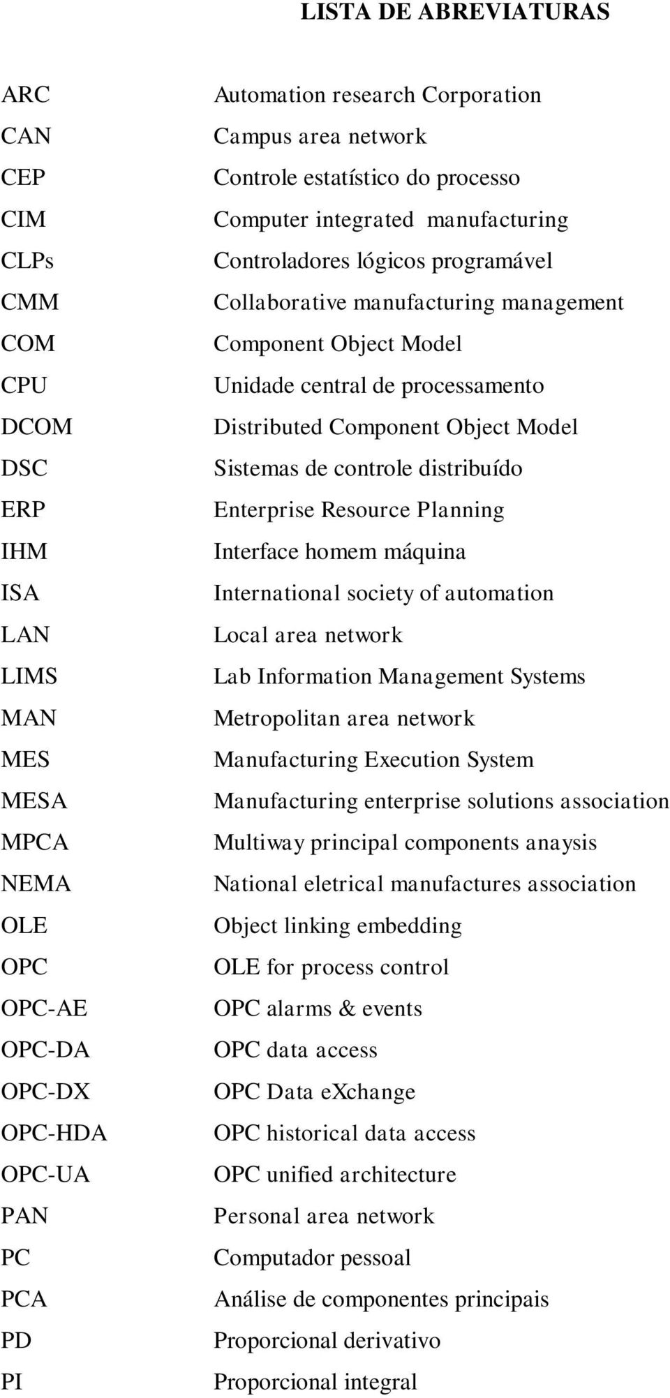 Unidade central de processamento Distributed Component Object Model Sistemas de controle distribuído Enterprise Resource Planning Interface homem máquina International society of automation Local