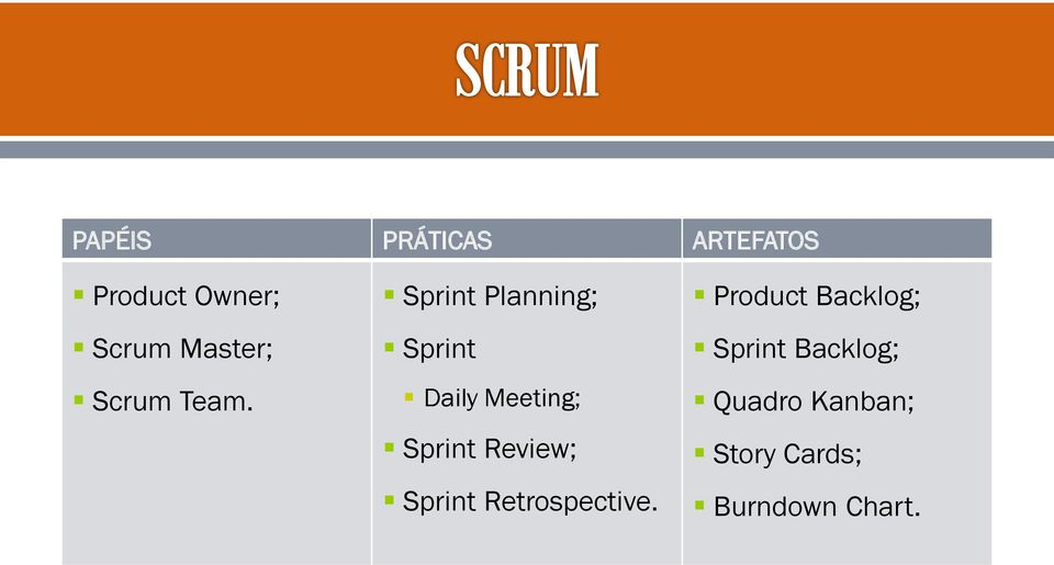 Sprint Planning; Sprint Daily Meeting; Sprint Review;