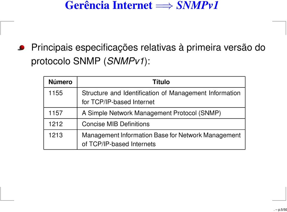 TCP/IP-based Internet 1157 A Simple Network Management Protocol (SNMP) 1212 Concise MIB