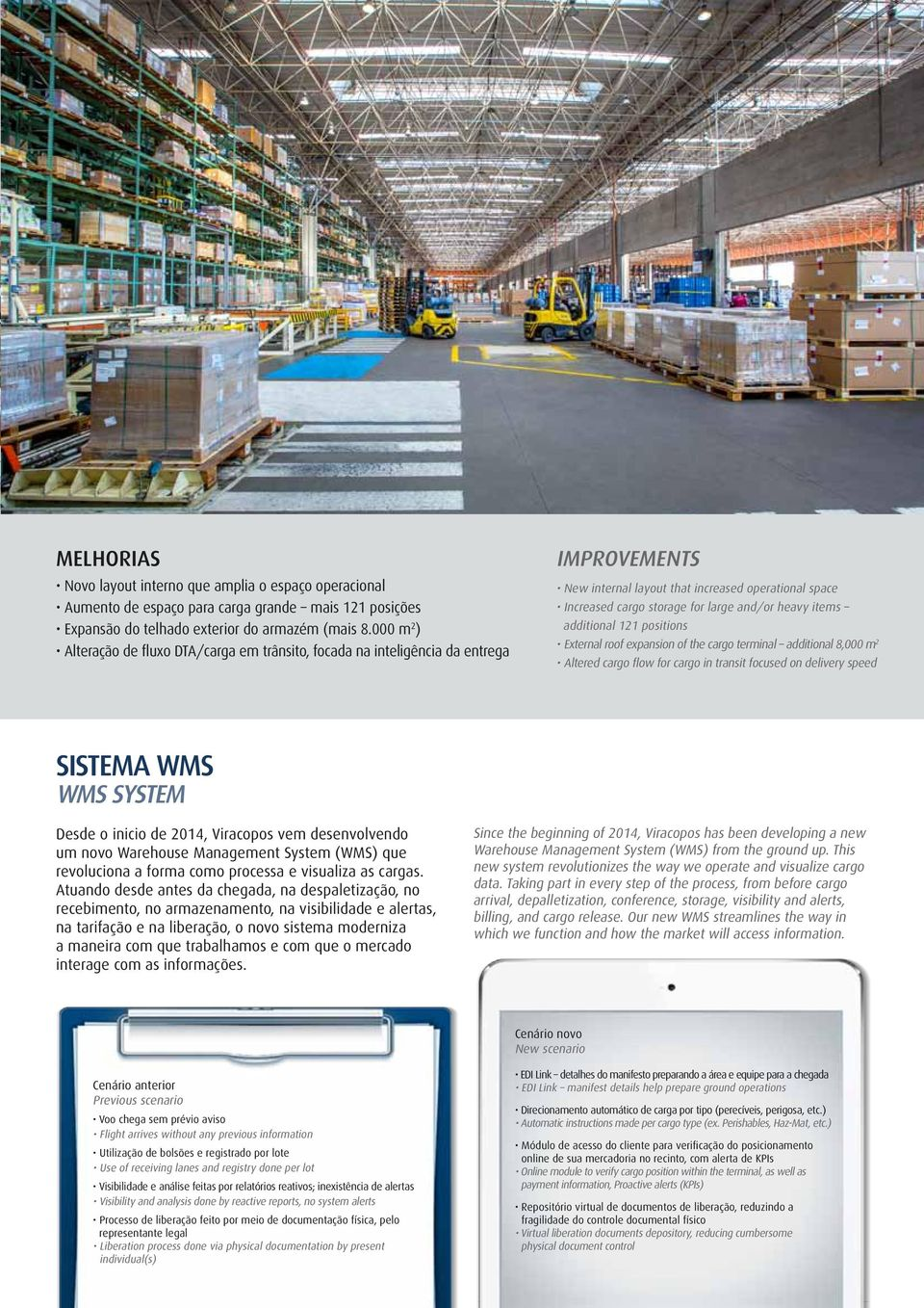 items additional 121 positions External roof expansion of the cargo terminal additional 8,000 m 2 Altered cargo flow for cargo in transit focused on delivery speed SISTEMA WMS WMS System Desde o