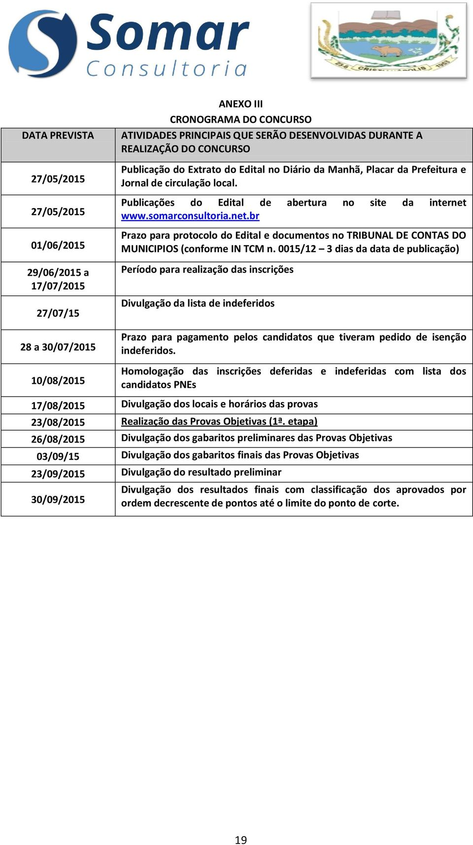 www.somarconsultoria.net.br Prazo para protocolo do Edital e documentos no TRIBUNAL DE CONTAS DO MUNICIPIOS (conforme IN TCM n.