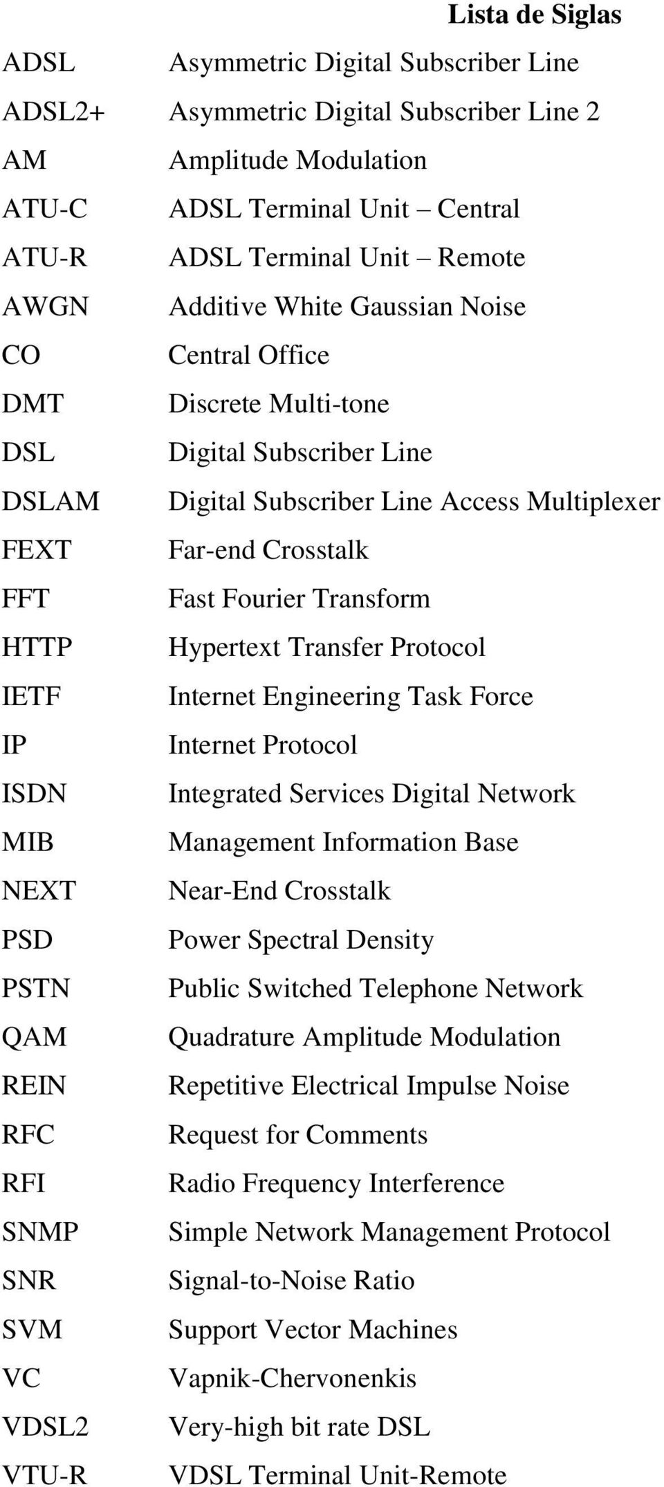 HTTP Hypertext Transfer Protocol IETF Internet Engineering Task Force IP Internet Protocol ISDN Integrated Services Digital Network MIB Management Information Base NEXT Near-End Crosstalk PSD Power