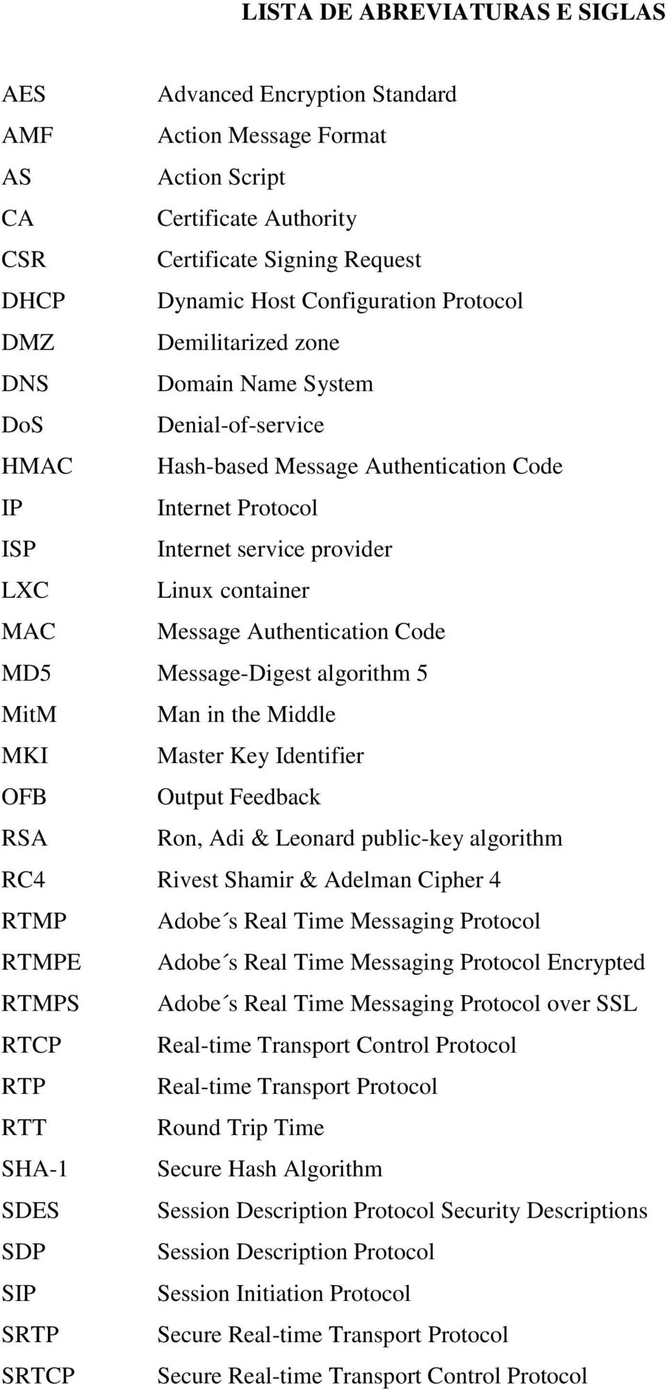 Message Authentication Code MD5 Message-Digest algorithm 5 MitM Man in the Middle MKI Master Key Identifier OFB Output Feedback RSA Ron, Adi & Leonard public-key algorithm RC4 Rivest Shamir & Adelman
