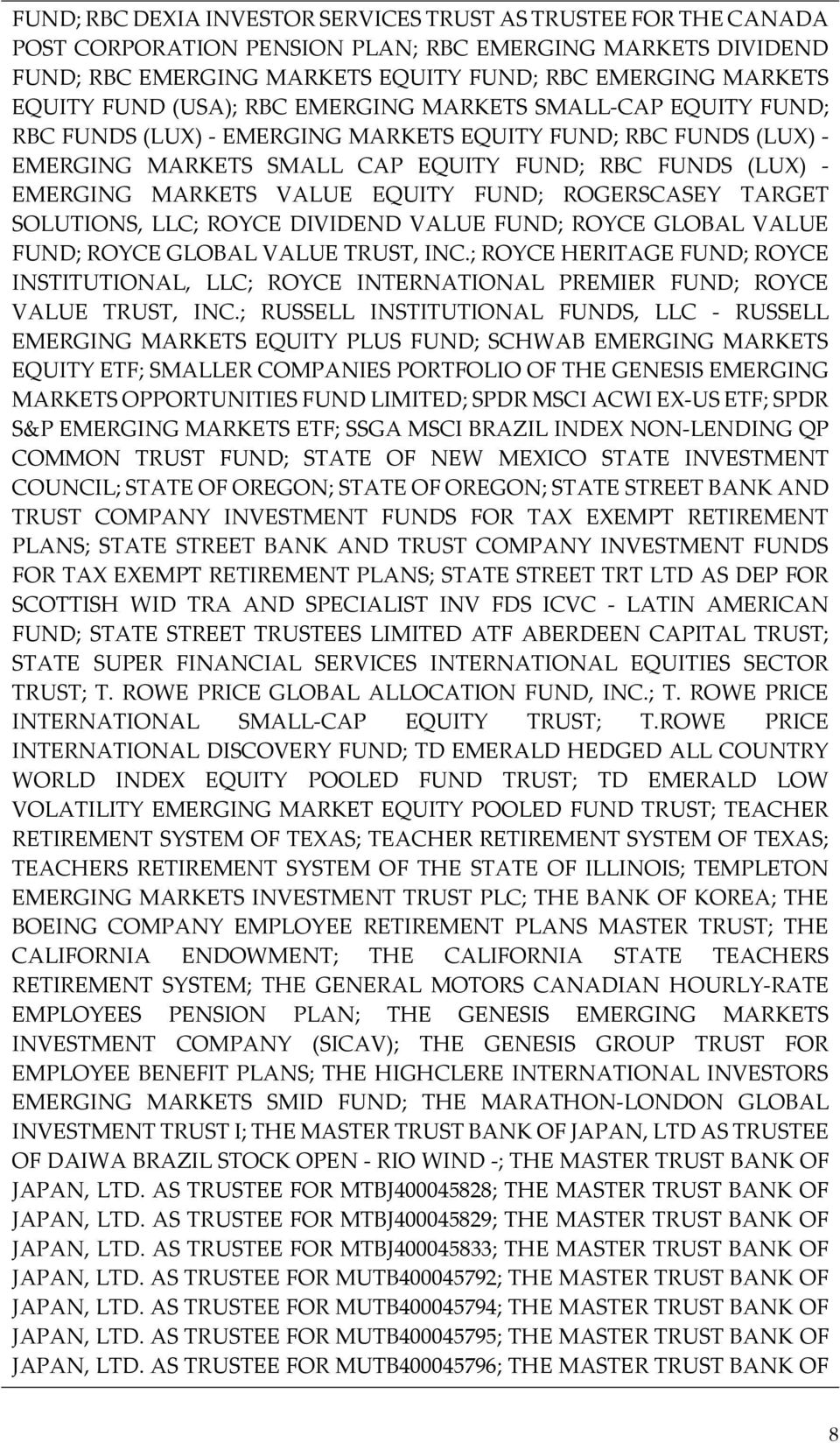 EQUITY FUND; ROGERSCASEY TARGET SOLUTIONS, LLC; ROYCE DIVIDEND VALUE FUND; ROYCE GLOBAL VALUE FUND; ROYCE GLOBAL VALUE TRUST, INC.