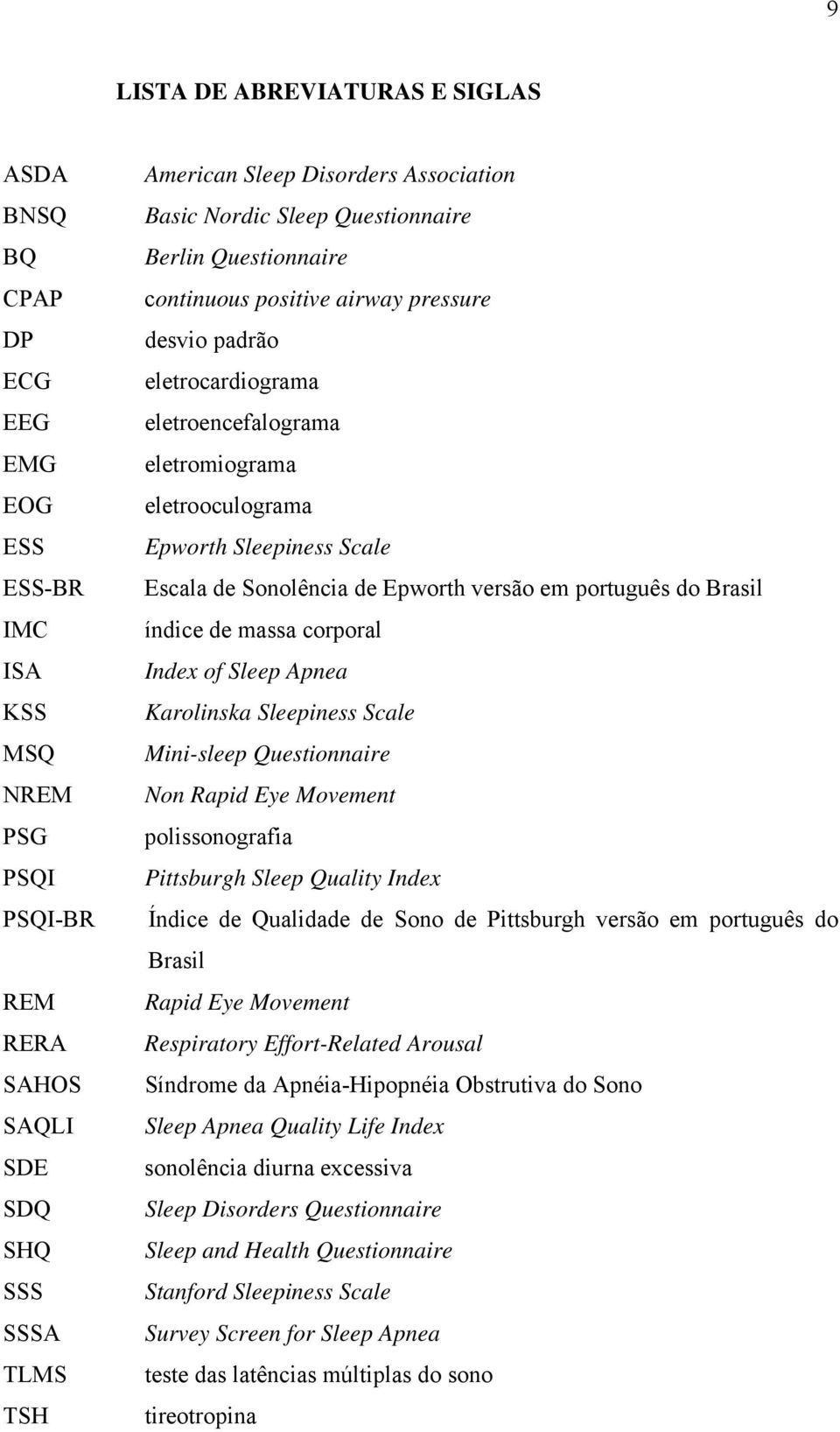 Sleepiness Scale Escala de Sonolência de Epworth versão em português do Brasil índice de massa corporal Index of Sleep Apnea Karolinska Sleepiness Scale Mini-sleep Questionnaire Non Rapid Eye