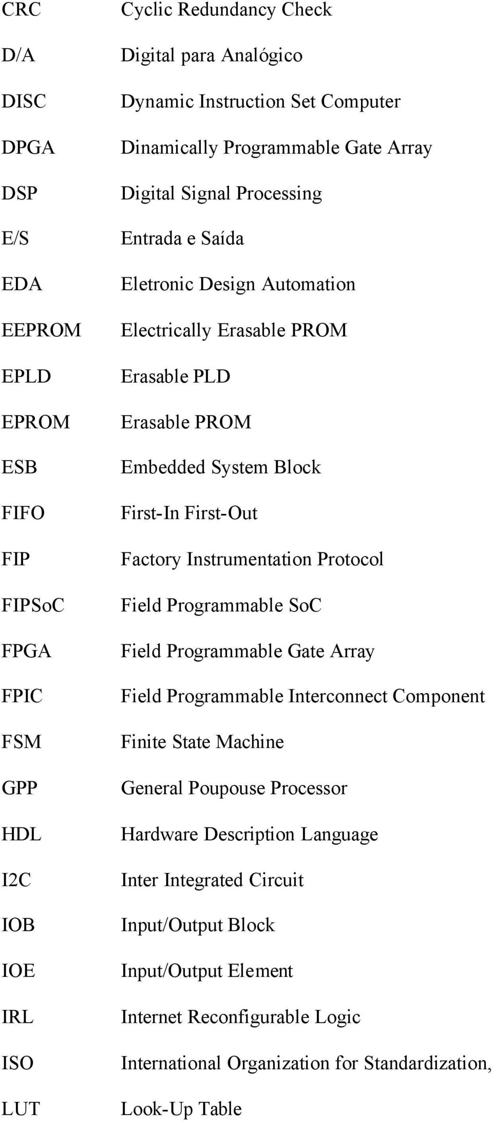 Block First-In First-Out Factory Instrumentation Protocol Field Programmable SoC Field Programmable Gate Array Field Programmable Interconnect Component Finite State Machine General