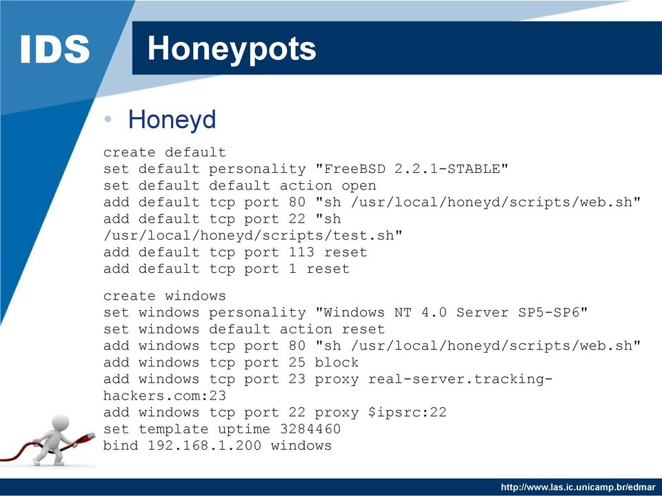 "sh"" add default tcp port 22 ""sh /usr/local/honeyd/scripts/test."