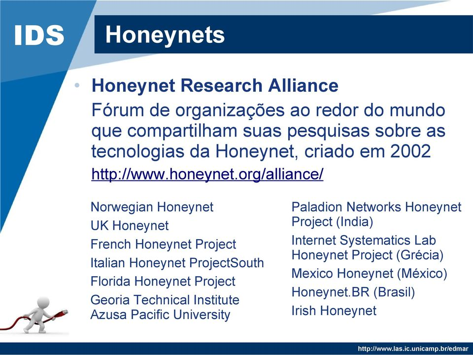 org/alliance/ Norwegian Honeynet UK Honeynet French Honeynet Project Italian Honeynet ProjectSouth Florida Honeynet Project