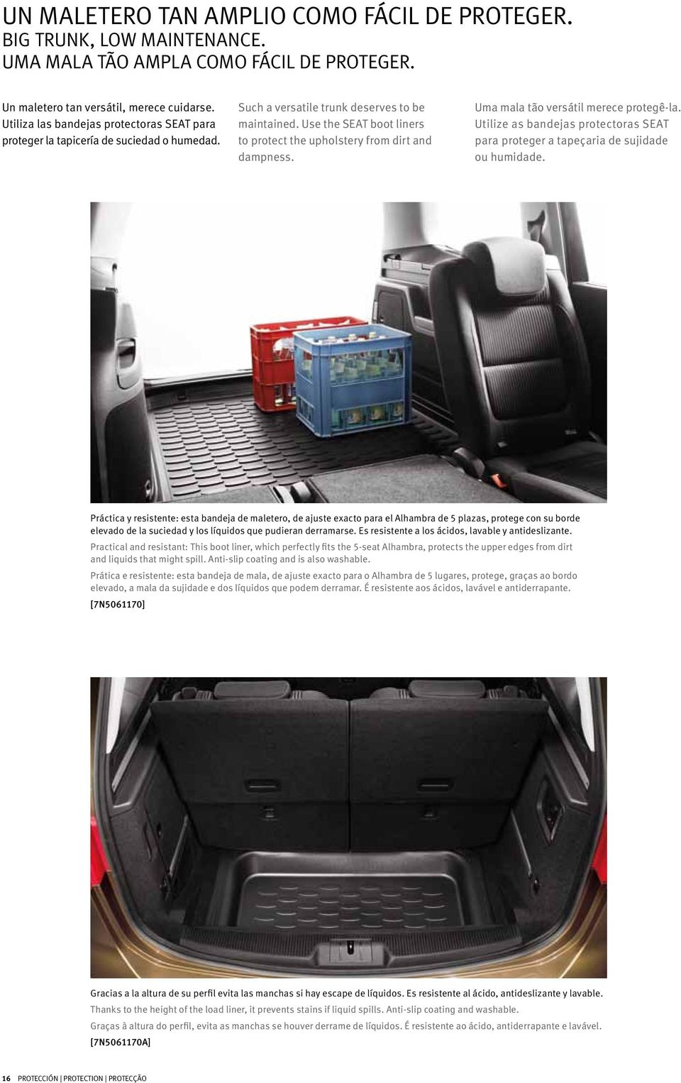 Use the SEAT boot liners to protect the upholstery from dirt and dampness. Uma mala tão versátil merece protegê-la.