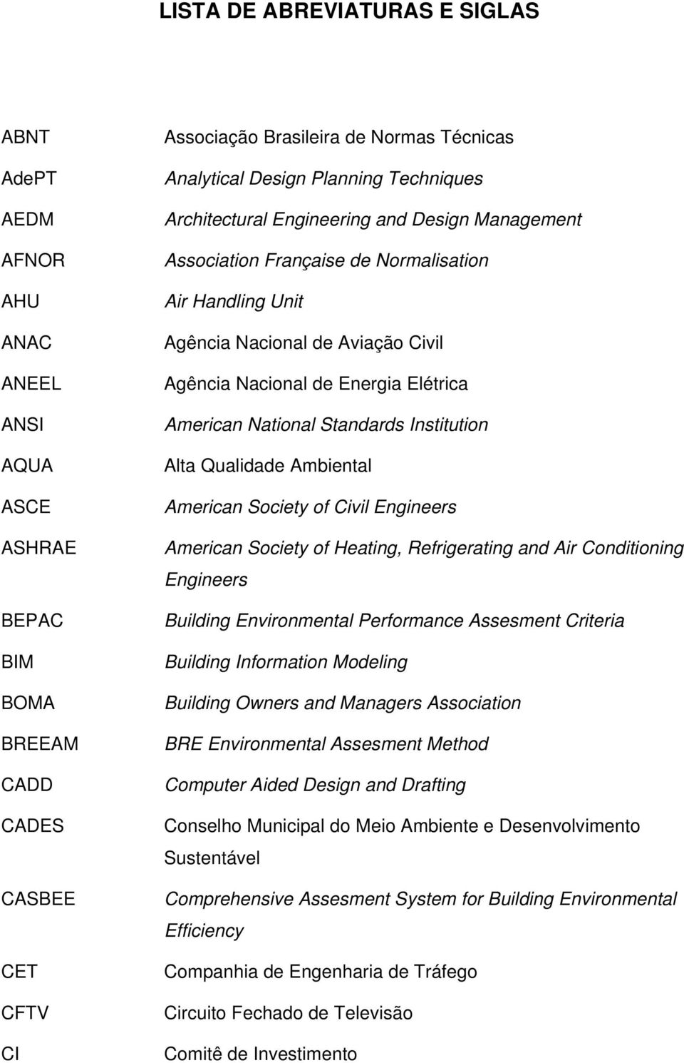 Elétrica American National Standards Institution Alta Qualidade Ambiental American Society of Civil Engineers American Society of Heating, Refrigerating and Air Conditioning Engineers Building