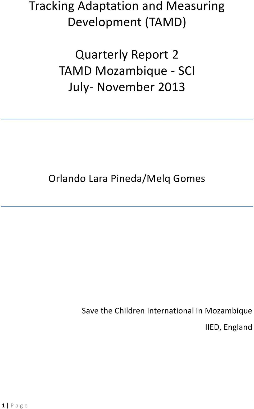 November 2013 Orlando Lara Pineda/Melq Gomes Save the