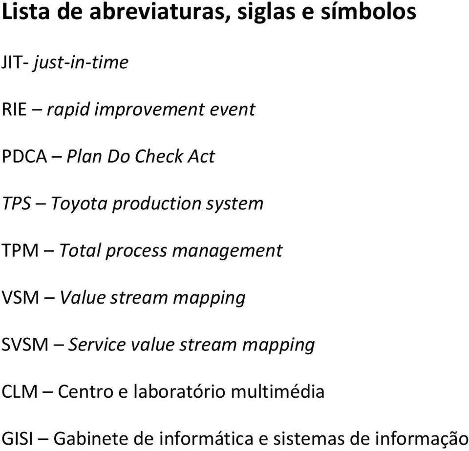 Total process management VSM Value stream mapping SVSM Service value stream