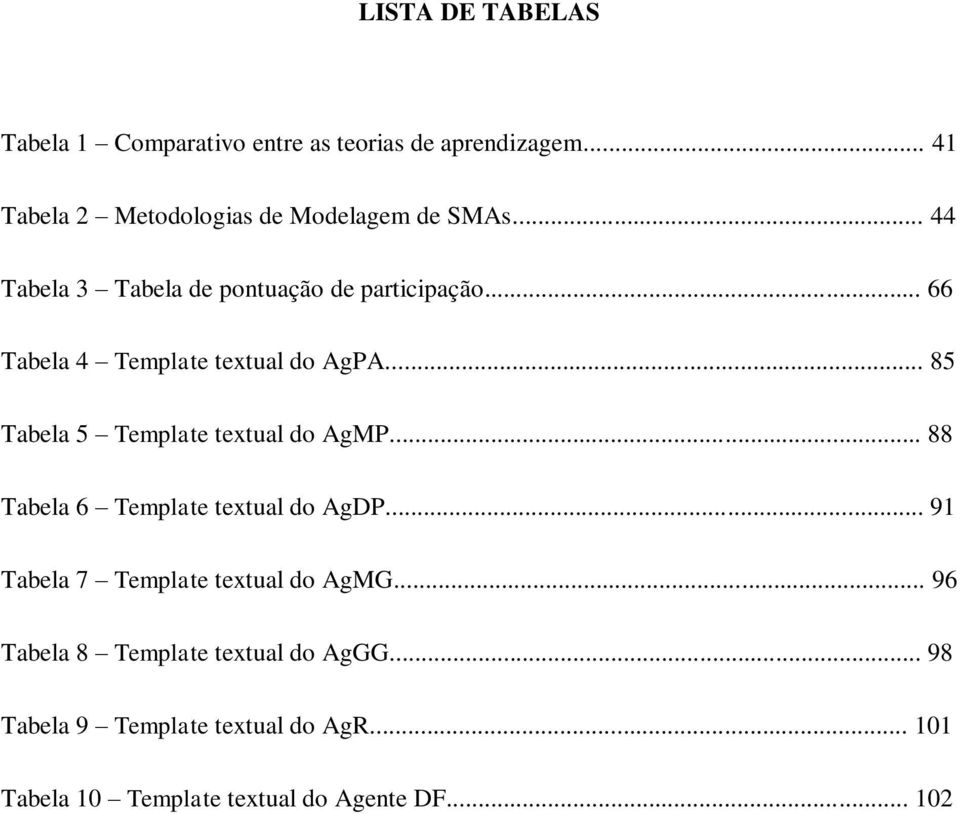 .. 66 Tabela 4 Template textual do AgPA... 85 Tabela 5 Template textual do AgMP.