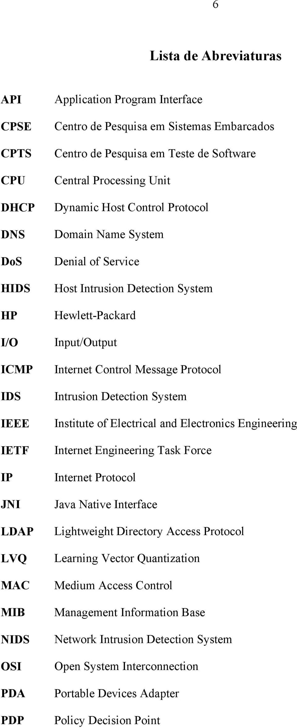 Internet Control Message Protocol Intrusion Detection System Institute of Electrical and Electronics Engineering Internet Engineering Task Force Internet Protocol Java Native Interface Lightweight