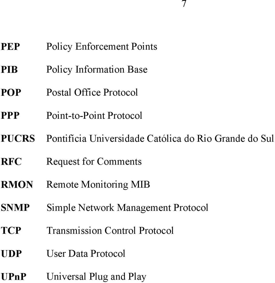 Católica do Rio Grande do Sul Request for Comments Remote Monitoring MIB Simple Network