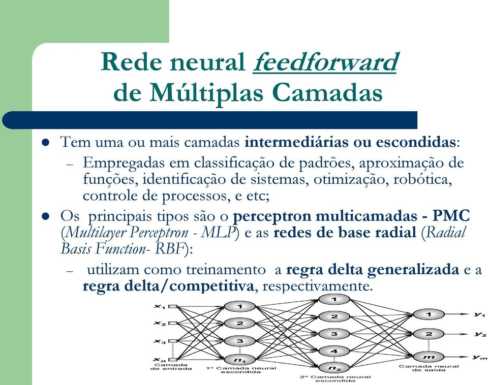 processos, e etc; Os principais tipos são o perceptron multicamadas - PMC (Multilayer Perceptron - MLP) e as redes de