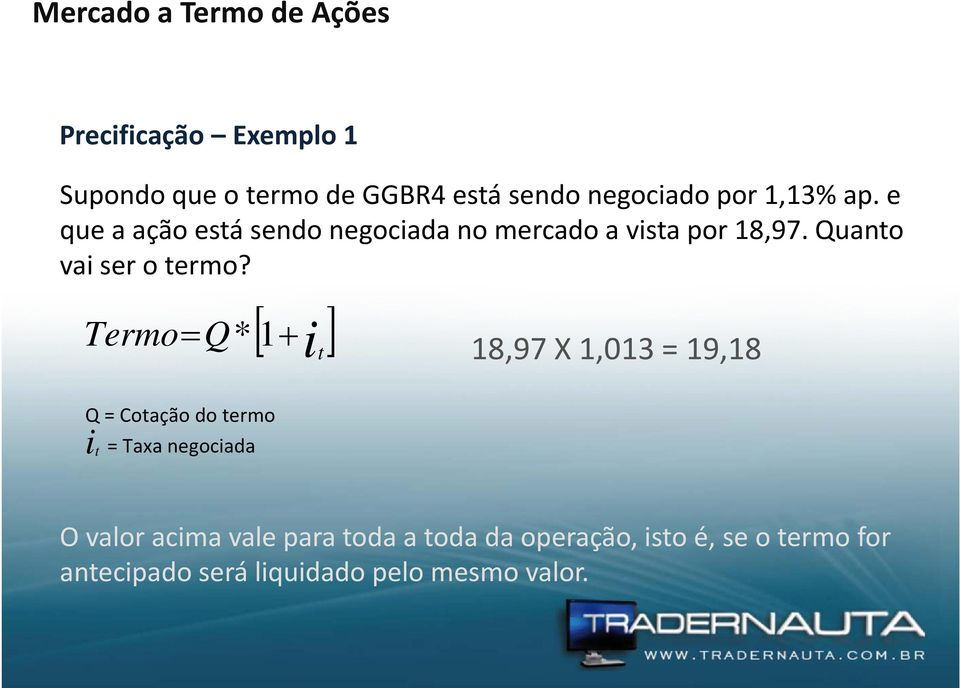 [ ] Termo = Q* 1+ it 18,97 X 1,013 = 19,18 Q = Cotação do termo i t = Taxa negociada O valor