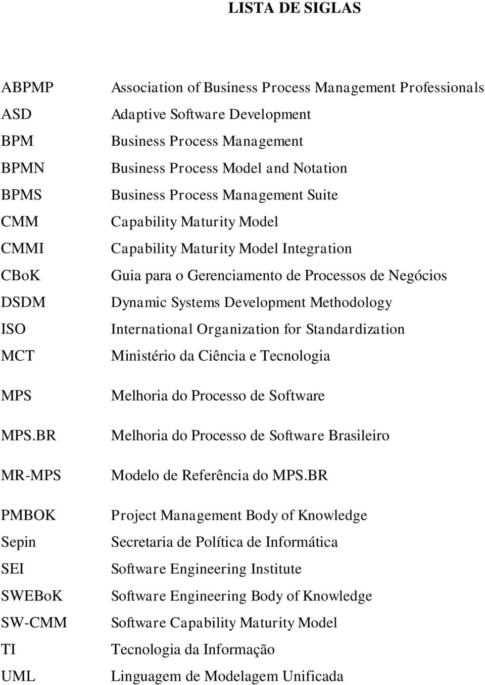 Business Process Management Suite Capability Maturity Model Capability Maturity Model Integration Guia para o Gerenciamento de Processos de Negócios Dynamic Systems Development Methodology