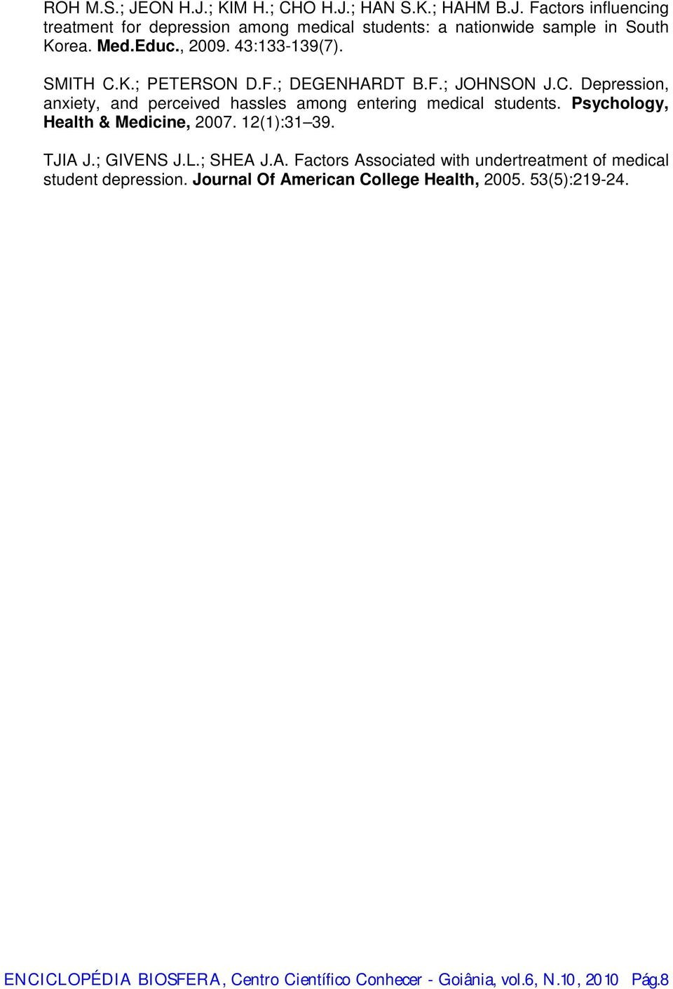 Psychology, Health & Medicine, 2007. 12(1):31 39. TJIA J.; GIVENS J.L.; SHEA J.A. Factors Associated with undertreatment of medical student depression.