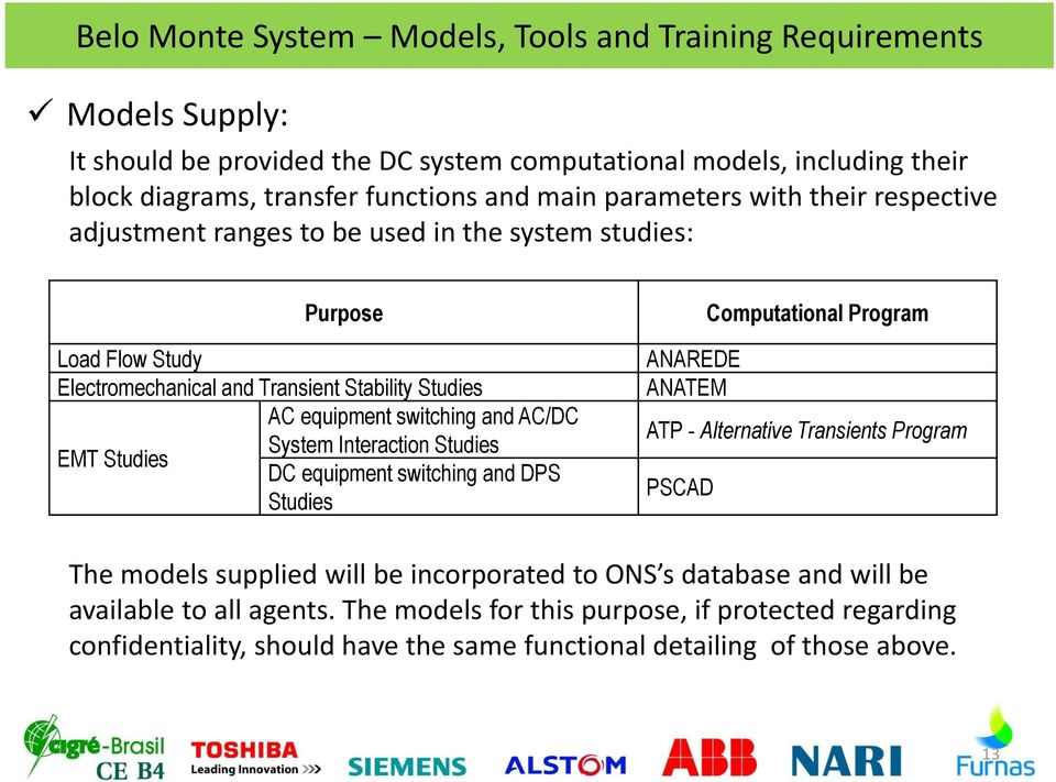System Interaction Studies EMT Studies DC equipment switching and DPS Studies Computational Program ANAREDE ANATEM ATP - Alternative Transients Program PSCAD The models supplied will be
