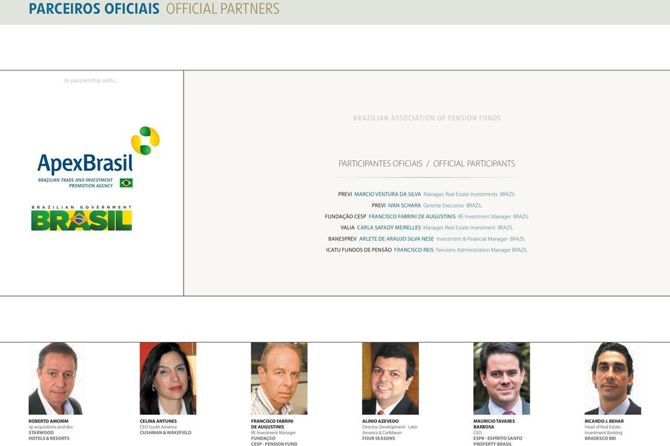 BRAZIL FUNDAÇÃO CESP FRANCISCO FABRINI DE AUGUSTINIS RE Investment Manager BRAZIL VALIA CARLA SAFADY MEIRELLES Manager, Real Estate Investment BRAZIL BANESPREV ARLETE DE ARAUJO SILVA NESE Investment