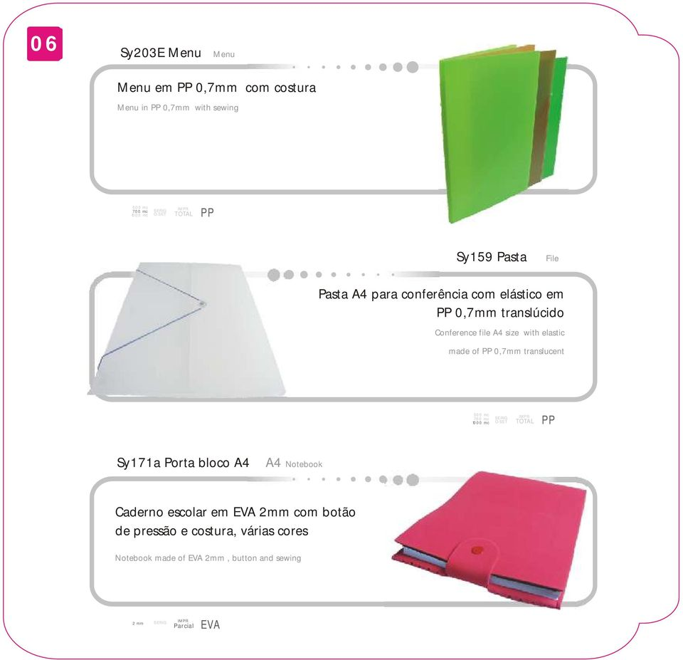 made of 0,7mm translucent 700 mc Sy171a Porta bloco A4 A4 Notebook Caderno escolar em EVA 2mm com