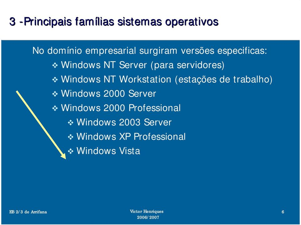 Windows NT Workstation (estações de trabalho) Windows 2000 Server