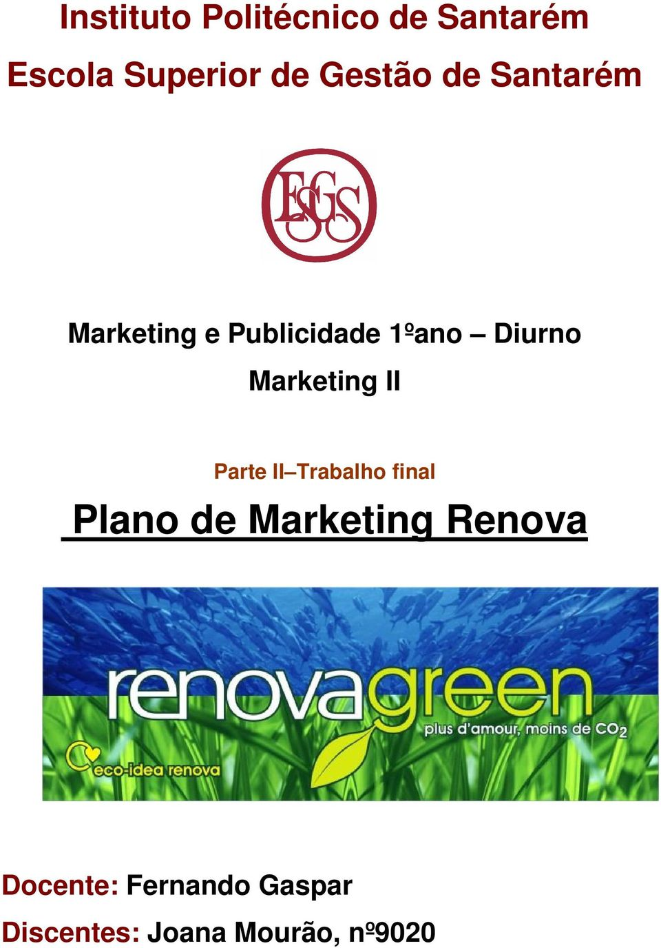 Marketing II Parte II Trabalho final Plano de Marketing