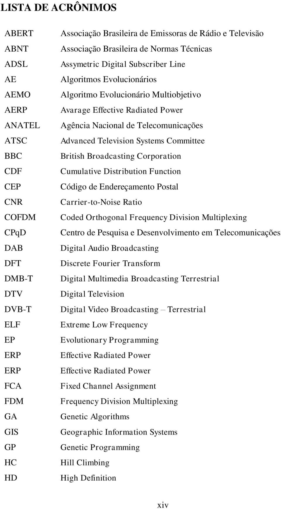 de Telecomunicações Advanced Television Systems Committee British Broadcasting Corporation Cumulative Distribution Function Código de Endereçamento Postal Carrier-to-Noise Ratio Coded Orthogonal