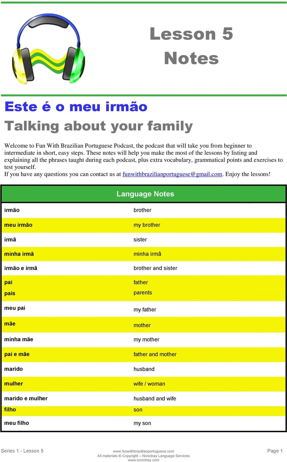 If you have any questions you can contact us at funwithbrazilianportuguese@gmail.com. Enjoy the lessons!