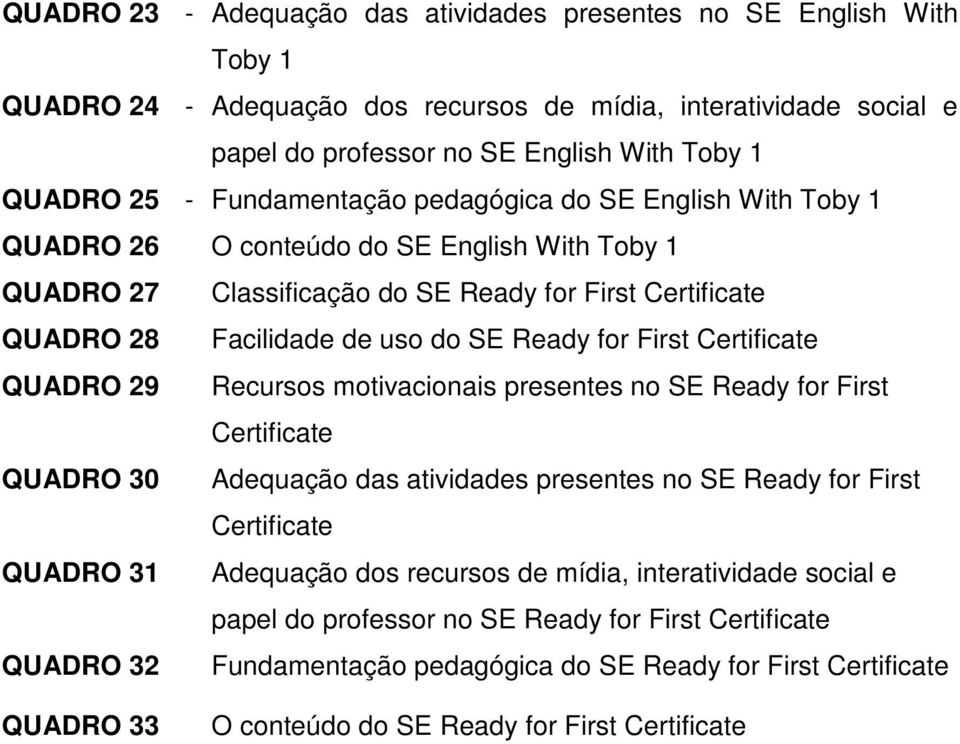 First Certificate QUADRO 29 Recursos motivacionais presentes no SE Ready for First Certificate QUADRO 30 Adequação das atividades presentes no SE Ready for First Certificate QUADRO 31 Adequação dos