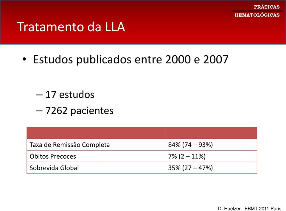 Completa 84% (74 93%) Óbitos Precoces 7% (2 11%)