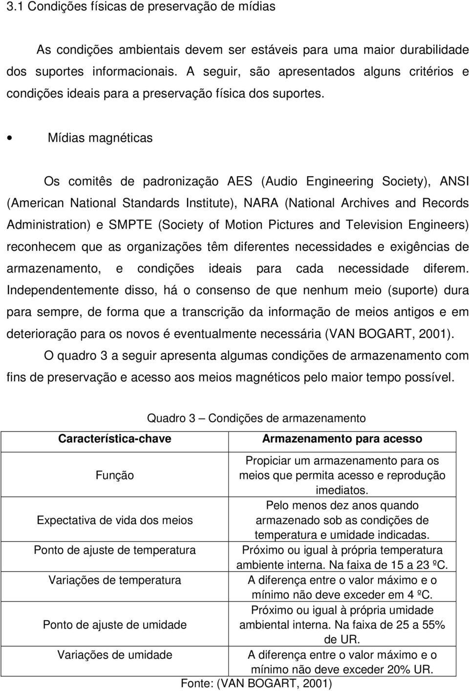 Mídias magnéticas Os comitês de padronização AES (Audio Engineering Society), ANSI (American National Standards Institute), NARA (National Archives and Records Administration) e SMPTE (Society of