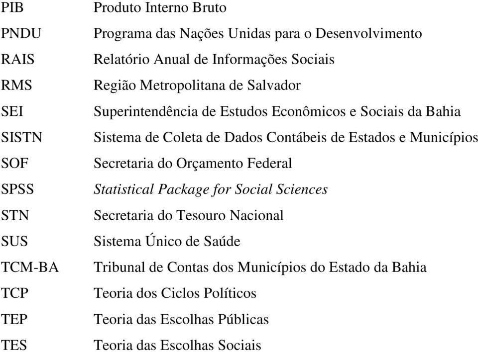 Contábeis de Estados e Municípios Secretaria do Orçamento Federal Statistical Package for Social Sciences Secretaria do Tesouro Nacional Sistema